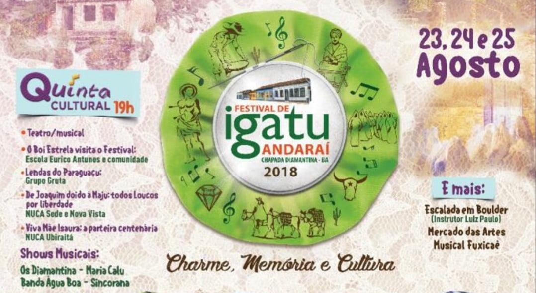 Divulgada as atrações do Festival de Igatu 2018 em Andaraí – Ba